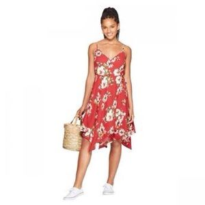 Red Floral Wrap Flowy Midi Dress Sleeveless Strap